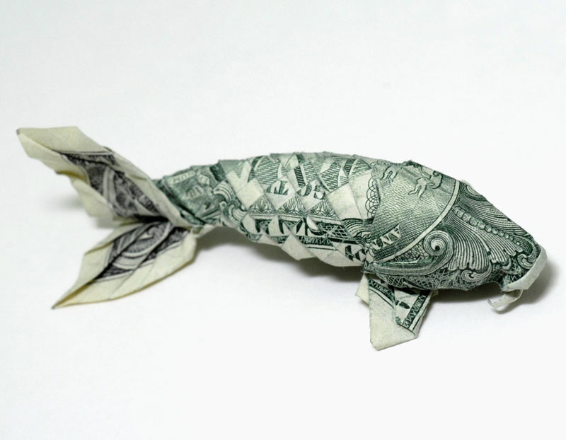 koi fish made from dollar bill origami by won park Toilet Paper Rolls Squished Into Faces by Junior Fritz Jacquet