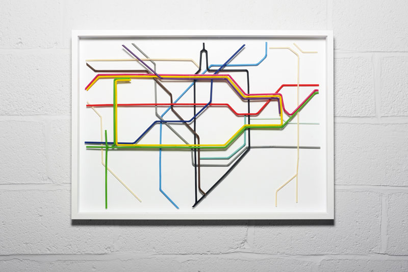 london tube map made from drinking straws kyle bean Inventive Hand Crafted Art by Kyle Bean