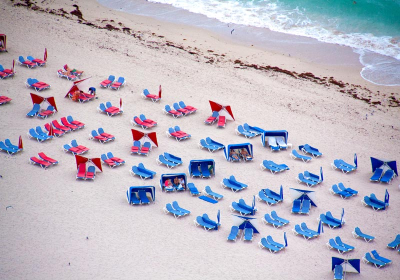 miami blue and red chairs aerial maison gray Beaches Around the World Seen from Above