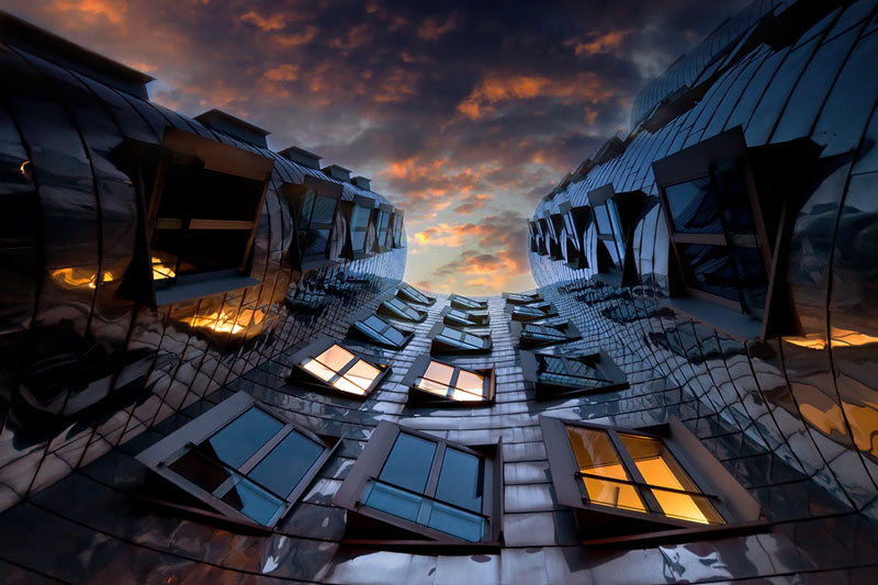 neuer zollhof building dusseldorf germany frank gehry Picture of the Day: Looking Skyward in Dusseldorf