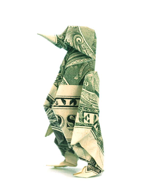 penguin made from dollar bill origami by won park Amazing Origami Using Only Dollar Bills
