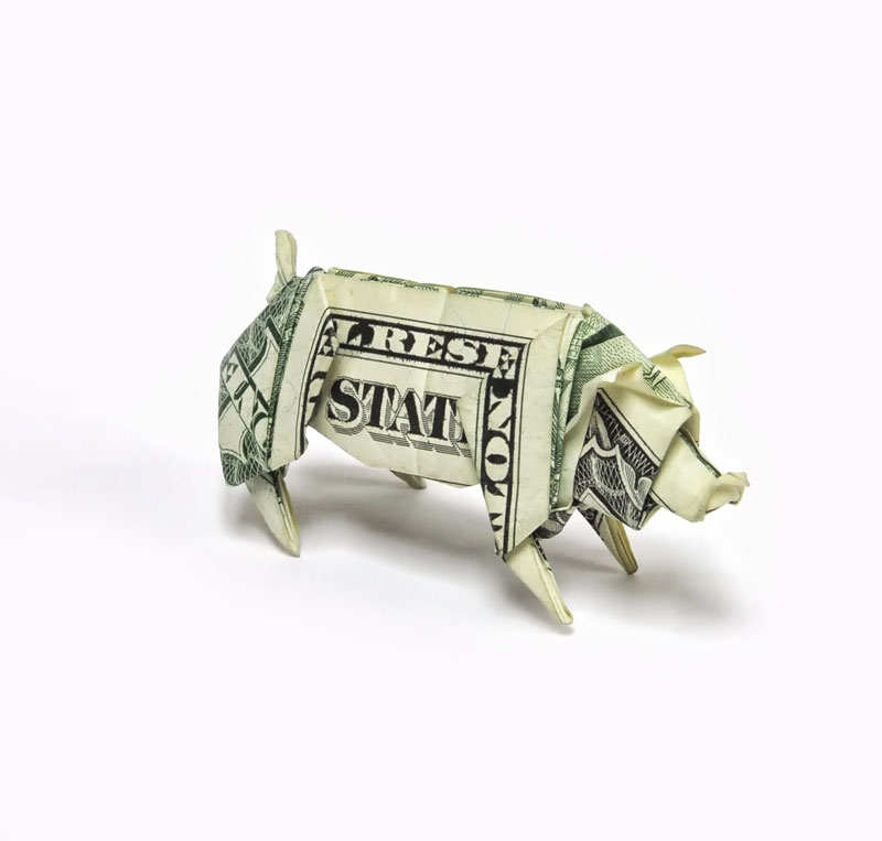 pig made from dollar bill origami by won park Amazing Origami Using Only Dollar Bills