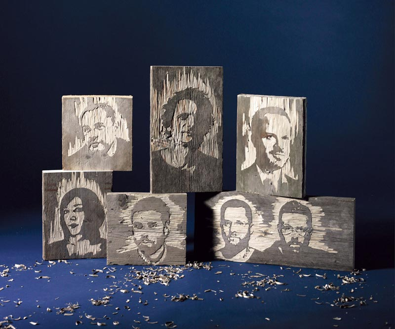 portraits carved from wood kyle bean 2 Inventive Hand Crafted Art by Kyle Bean