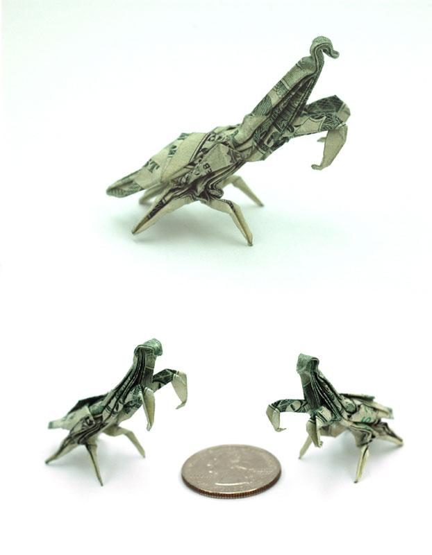 praying mantis made from dollar bill origami by won park Amazing Origami Using Only Dollar Bills