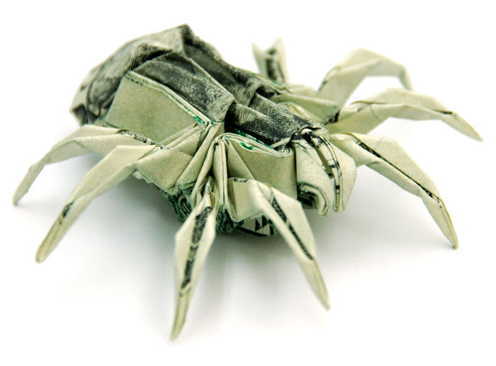spider made from dollar bill origami by won park Amazing Origami Using Only Dollar Bills