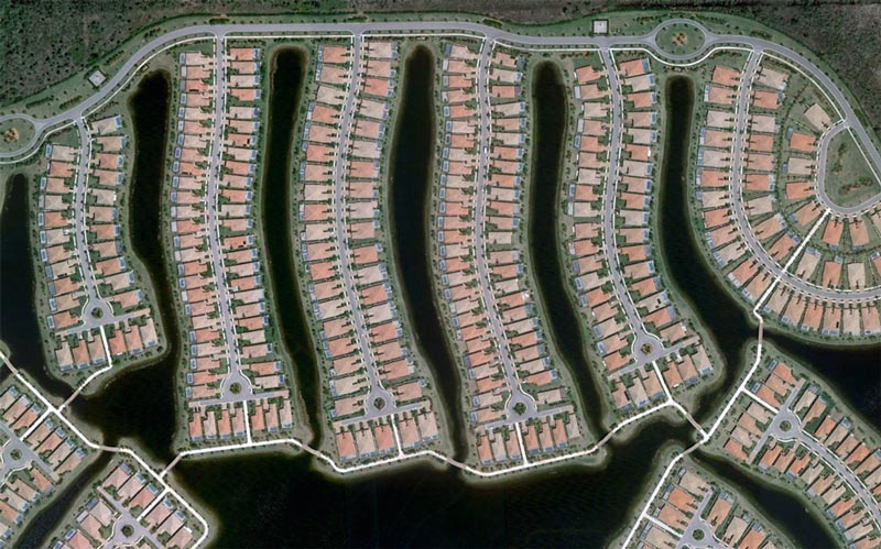 aerial patterns of human housing developments on google maps 16 Patterns of Human Development Found on Google Maps