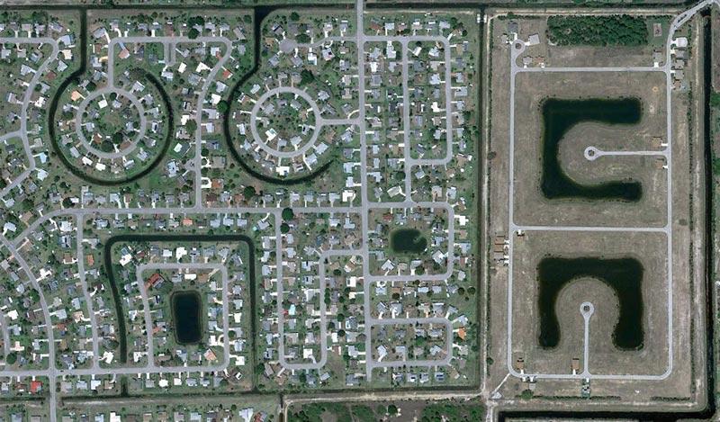 aerial patterns of human housing developments on google maps 8 Patterns of Human Development Found on Google Maps