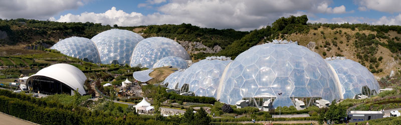 eden project geodesic domes panorama The Largest Greenhouse in the World