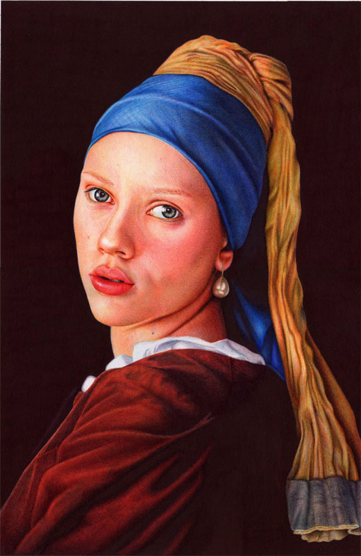 girl with a pearl earring   ballpoint pen by vianaarts Hyperrealistic Portraits Using Only Ballpoint Pens