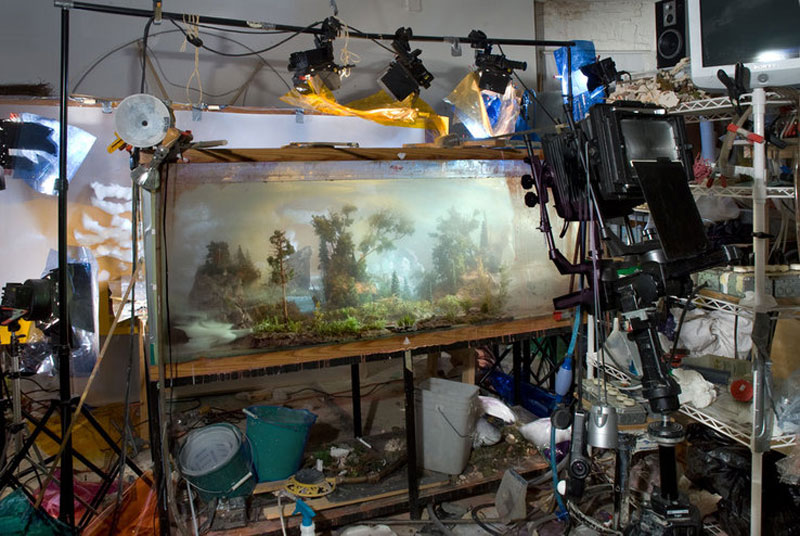 mini landscapes inside a tank that looks like paintings kim keever 7 Amazing Model Landscapes That Look Like Paintings