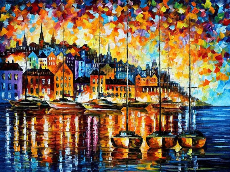 oil painting using only a paltete knife leonid afremov 3 Breathtaking Oil Paintings Using Only a Palette Knife