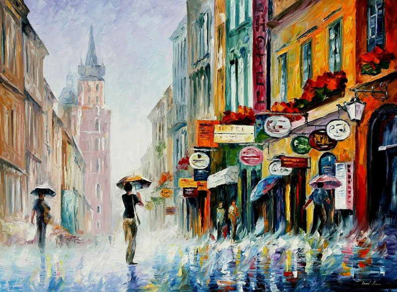 oil painting using only a paltete knife leonid afremov 6 Breathtaking Oil Paintings Using Only a Palette Knife