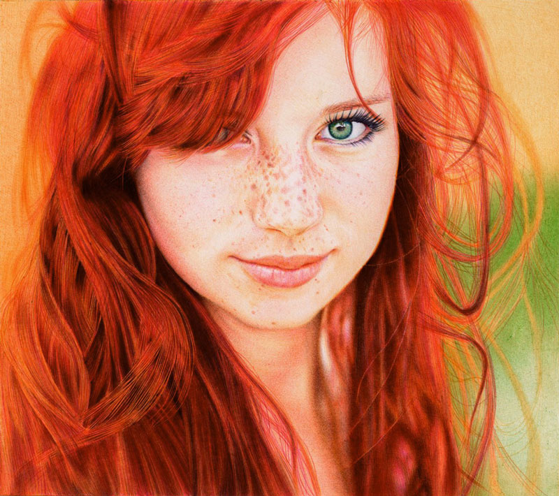 redhead girl   ballpoint pen by vianaarts Translucent Fruit Paintings by Dennis Wojtkiewicz
