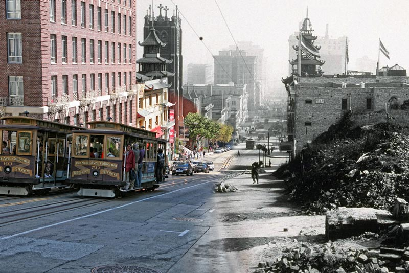San Francisco Earthquake Photos Blended Into Present Day
