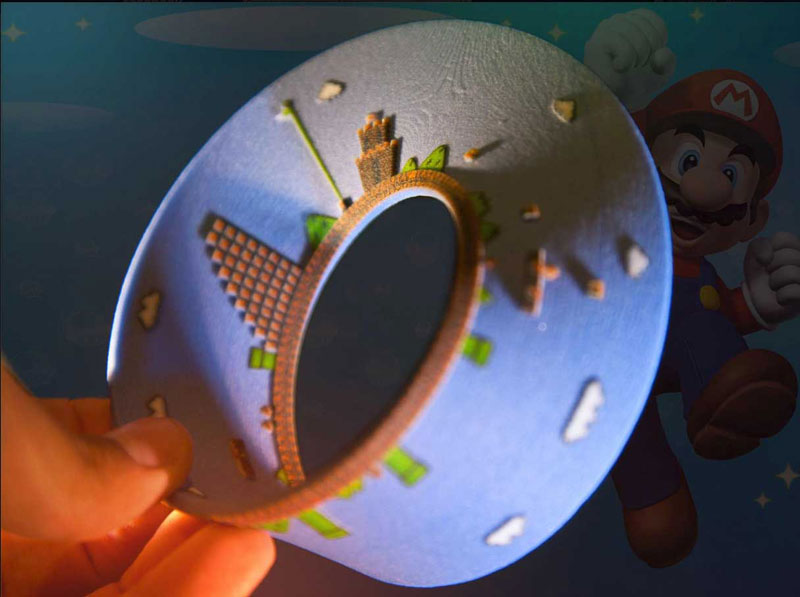 super mario mobius strip first level 11 3D Printed Mobius Strip of the 1st Level of Super Mario Bros