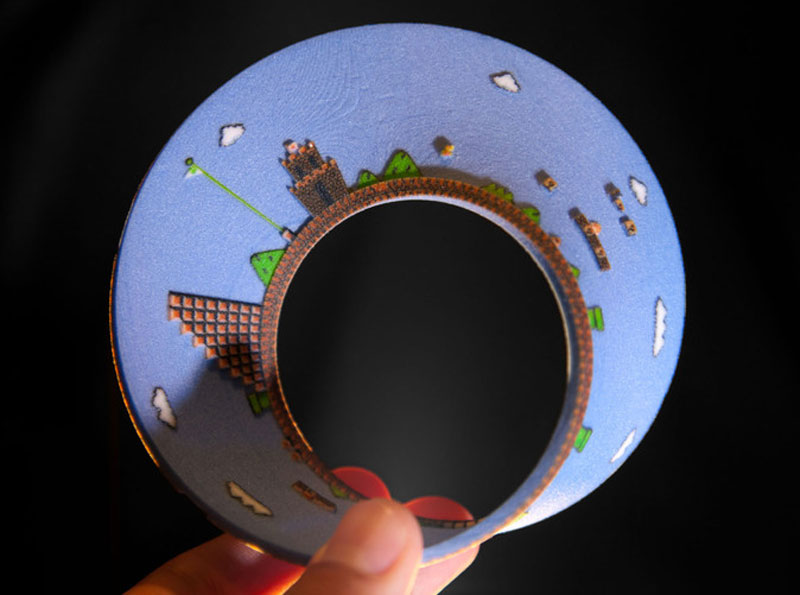 super mario mobius strip first level 3 3D Printed Mobius Strip of the 1st Level of Super Mario Bros