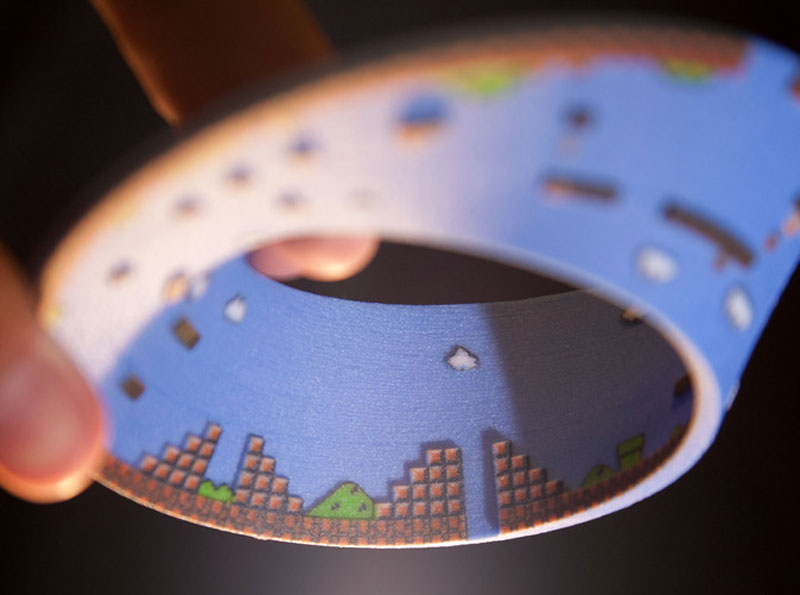 super mario mobius strip first level 4 3D Printed Mobius Strip of the 1st Level of Super Mario Bros