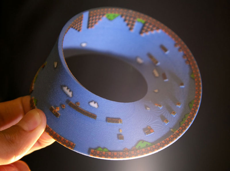 super mario mobius strip first level 7 3D Printed Mobius Strip of the 1st Level of Super Mario Bros