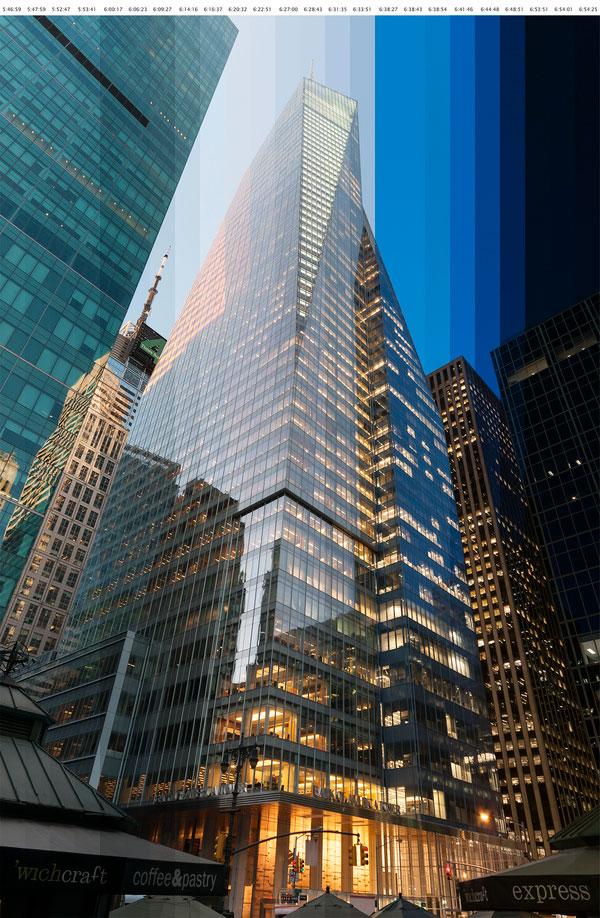vertically sliced timelapse photos of nyc buildings at sunset richard silver 3 Vertically Sliced Timelapse Photos of Buildings at Sunset