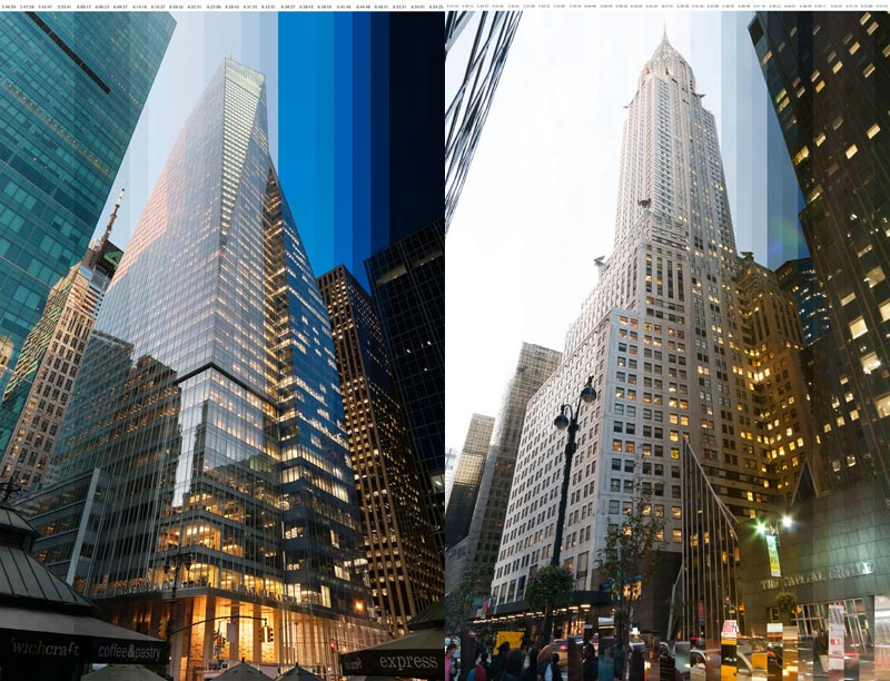 Vertically-Sliced Timelapse Photos of Buildings at Sunset