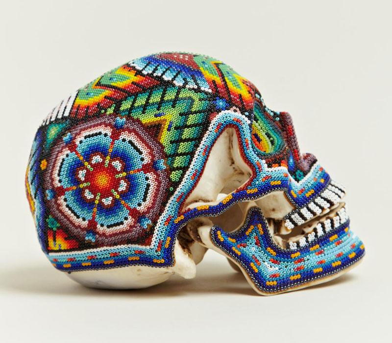 beaded skulls huichol people of mexico 2 Amazing Native Mexican Beaded Skulls