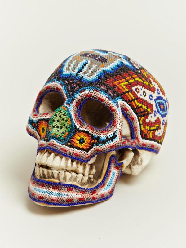 beaded skulls huivhol people of mexico 4 Amazing Native Mexican Beaded Skulls