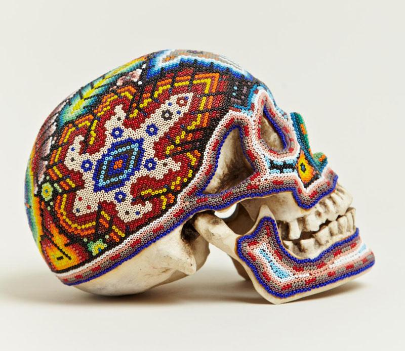 beaded skulls huivhol people of mexico 5 Amazing Native Mexican Beaded Skulls