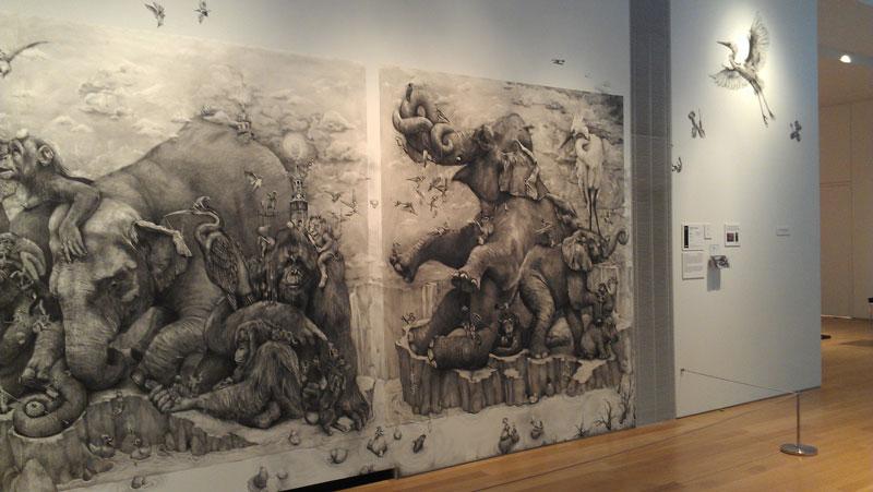 elephants mural adonna khare 10 Adonna Khares Amazing 288 sq ft Elephants Mural Drawn by Pencil