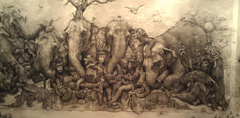 elephants mural adonna khare 11 Adonna Khares Amazing 288 sq ft Elephants Mural Drawn by Pencil