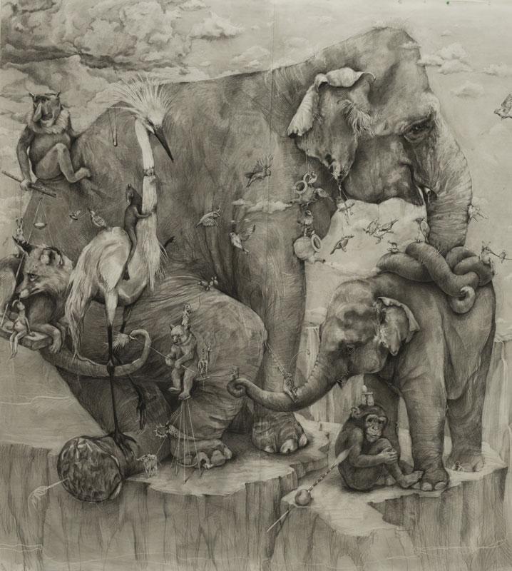elephants mural adonna khare 12 Adonna Khares Amazing 288 sq ft Elephants Mural Drawn by Pencil
