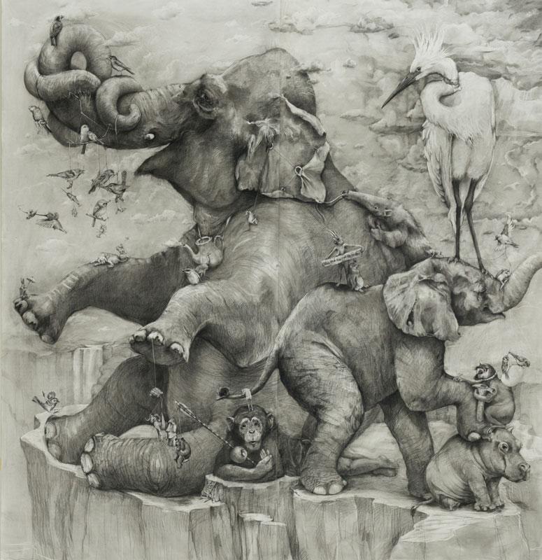 elephants mural adonna khare 13 Adonna Khares Amazing 288 sq ft Elephants Mural Drawn by Pencil