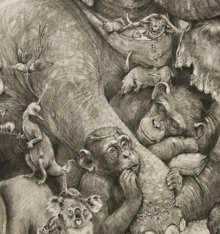 elephants mural adonna khare 15 Adonna Khares Amazing 288 sq ft Elephants Mural Drawn by Pencil