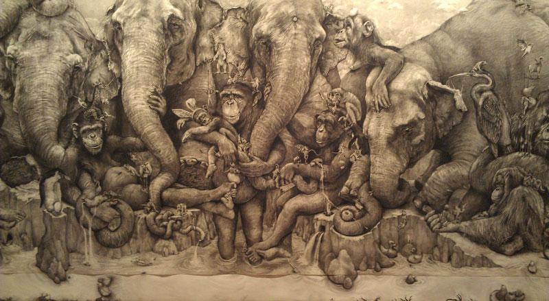elephants mural adonna khare 3 Adonna Khares Amazing 288 sq ft Elephants Mural Drawn by Pencil