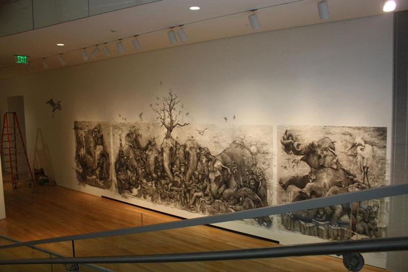 elephants mural adonna khare 4 Adonna Khares Amazing 288 sq ft Elephants Mural Drawn by Pencil