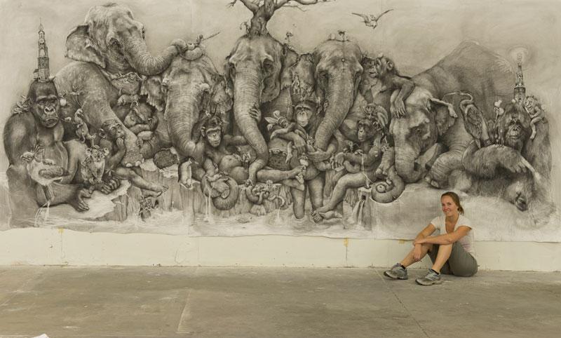 elephants mural adonna khare 5 Adonna Khares Amazing 288 sq ft Elephants Mural Drawn by Pencil