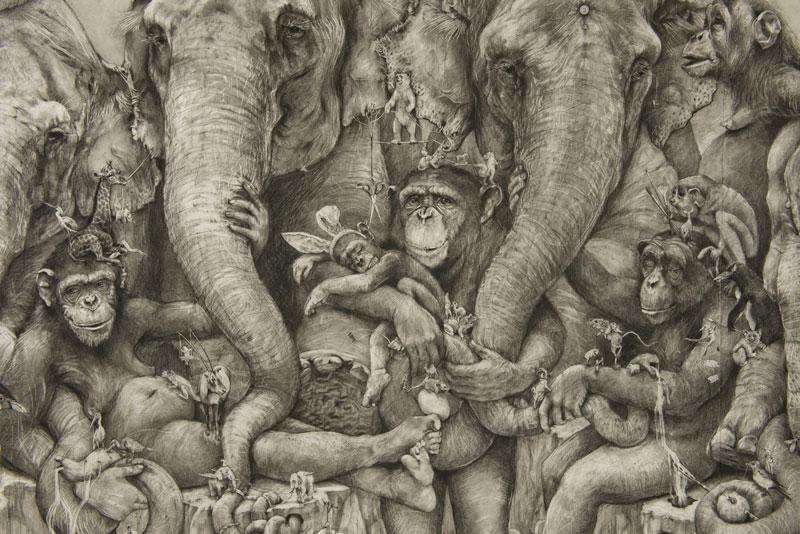 elephants mural adonna khare 6 Adonna Khares Amazing 288 sq ft Elephants Mural Drawn by Pencil