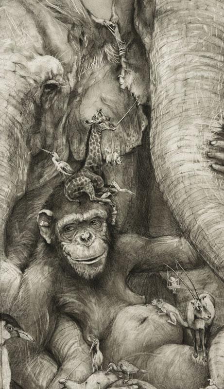 elephants mural adonna khare 7 Adonna Khares Amazing 288 sq ft Elephants Mural Drawn by Pencil