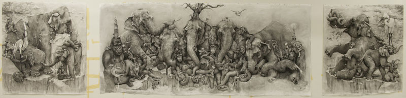 elephants mural adonna khare 8 Adonna Khares Amazing 288 sq ft Elephants Mural Drawn by Pencil