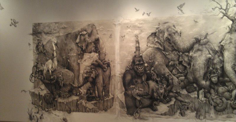 elephants mural adonna khare 9 Adonna Khares Amazing 288 sq ft Elephants Mural Drawn by Pencil