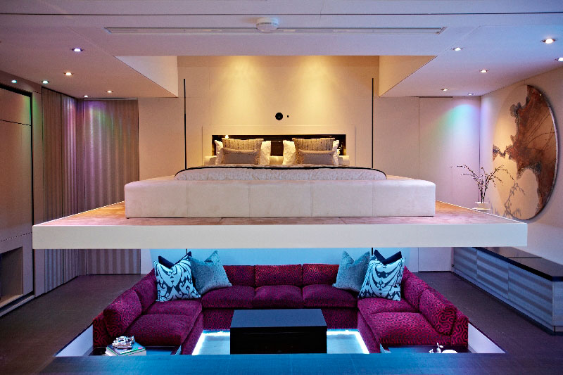 elevvator bed yo home simon woodroffe 2 House in London With a Retractable Glass Roof