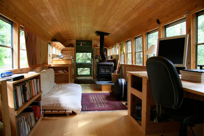 school bus conversion into mobile home 4 The HemLoft: A Secret Tree House in the Woods