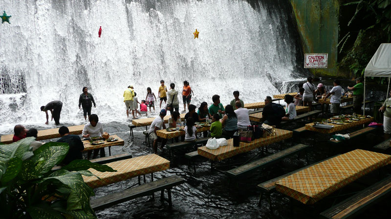 waterfall restaurant villa escudero phillippines 2 A Restaurant Beside a Waterfall