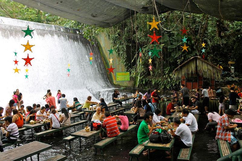 A Restaurant Beside a Waterfall
