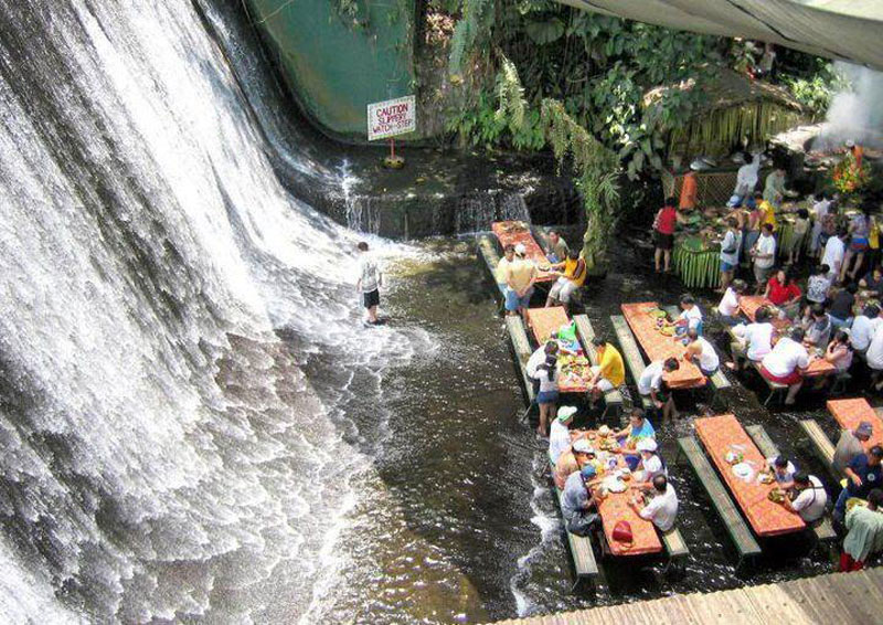waterfall restaurant villa escudero phillippines 6 A Restaurant Beside a Waterfall