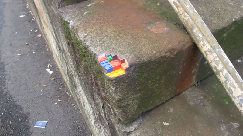 3d printed lego street art greg petchkovsky 10 3D Printed LEGO Block Blended into a Chipped Step
