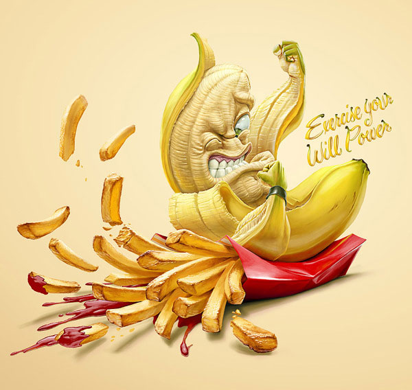 choose to live healthy exercise your will power illustrations by oscar ramos 3 Illustrating the Daily Battles of Will Power