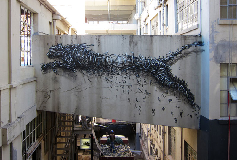 daleast adrenalin cape town south africa 2012 Twisted Metal Street Art Murals by DALeast