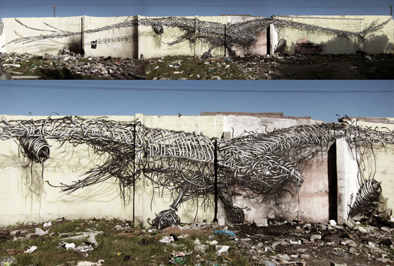 daleast milestonecape town south africa2012 Twisted Metal Street Art Murals by DALeast