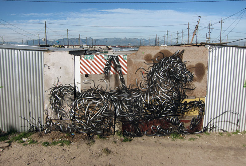 daleast no 108 tin town south africa 2012 Twisted Metal Street Art Murals by DALeast