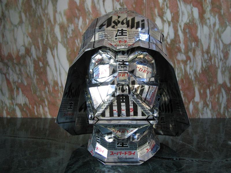 darth vader  made from aluminum cans japanese artist makaon